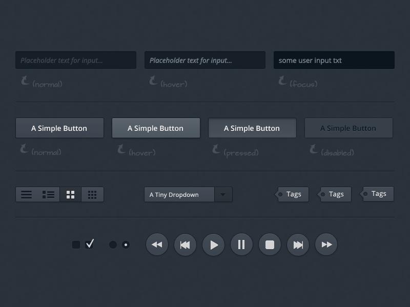 A dark user interface freebie/download