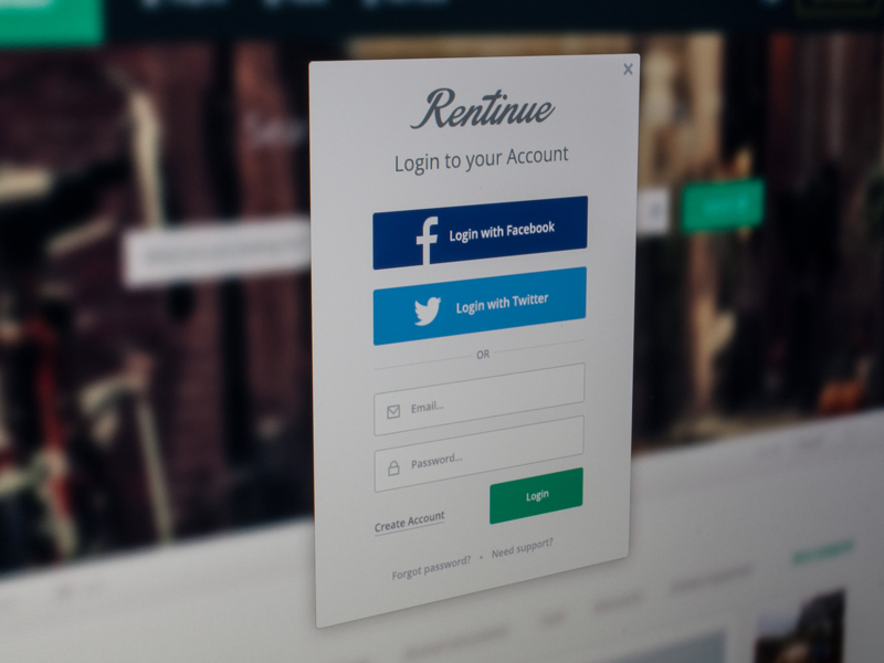 rentinue_login_screen