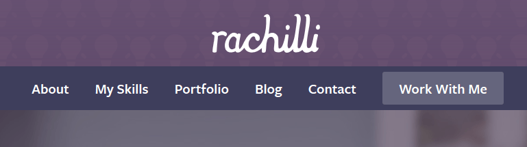 If you scroll down the page on Rachel's site, then start scrolling back up, the header slides down from the top making it super-easy to get in touch.