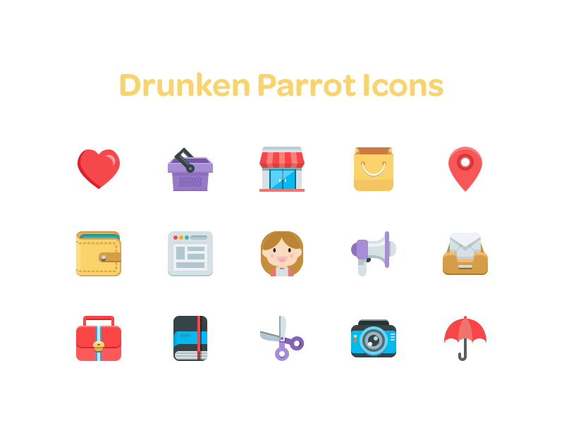 Drunken Parrot Icons by Riki Tanone