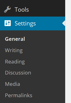 WordPress settings menu
