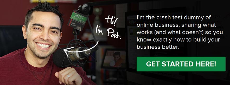 Pat Flynn instantly connects with you from the personal picture on the home page of Smart Passive Income.
