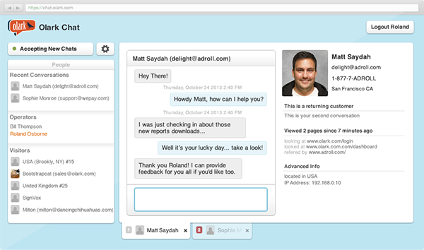 A small preview of the Olark chat interface.