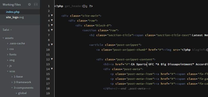 Write code to make a website with Brackets
