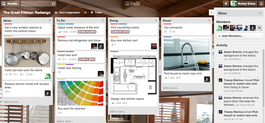 Manage tasks to make a website with Trello