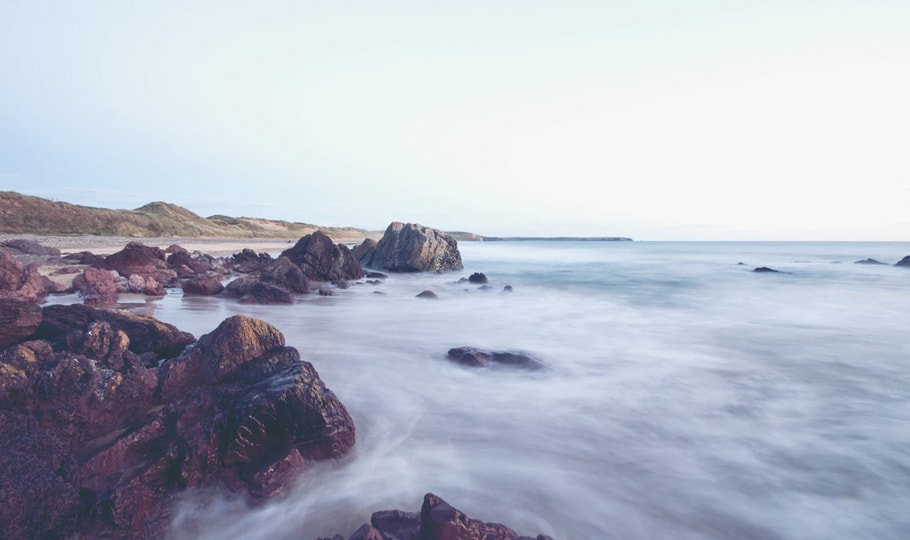 Misty sea and rocks wallpapers