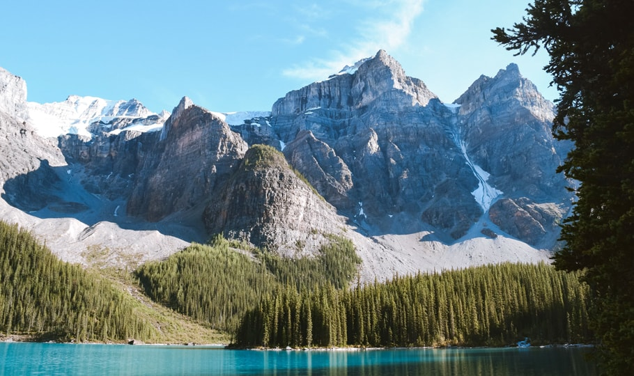 Mountains, trees and river wallpapers