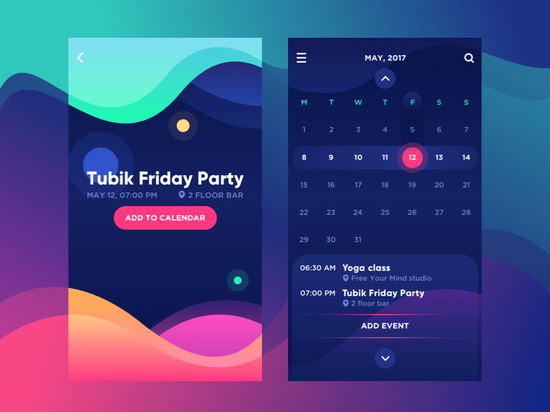Bright mobile calendar UI