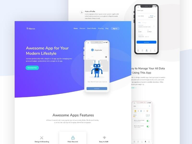 App landing page mockup