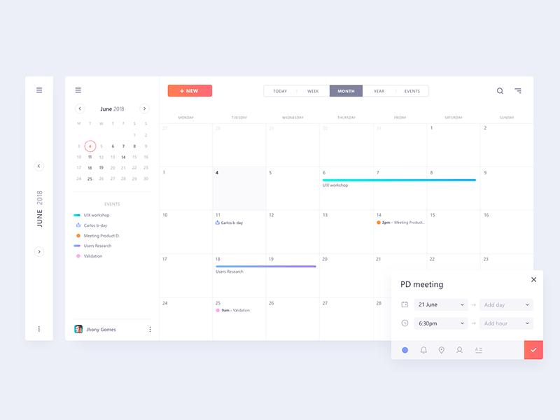 Minimal calendar UI mockup