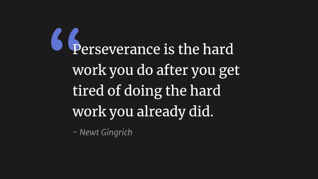 """Perseverance is the hard work you do after you get tired of doing the hard work you already did"" wallpaper"
