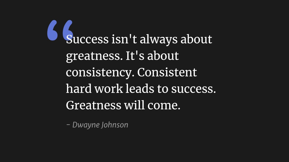 """Success isn't always about greatness. It's about consistency. Consistent hard work leads to success. Greatness will come."" wallpaper"